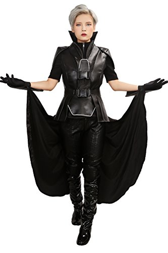 Xmen Storm Halloween Costumes (Apocalypse Storm Costume Deluxe Black PU Belt Pants Full Suit Women Cosplay Outfit)