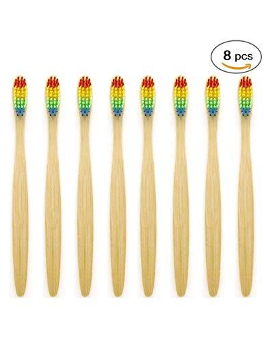 SoniFox Bamboo Toothbrush Eco-Friendly Biodegradable Wooden Toothbrushes BPA-Free Rainbow Nylon Bristle 8 Packs