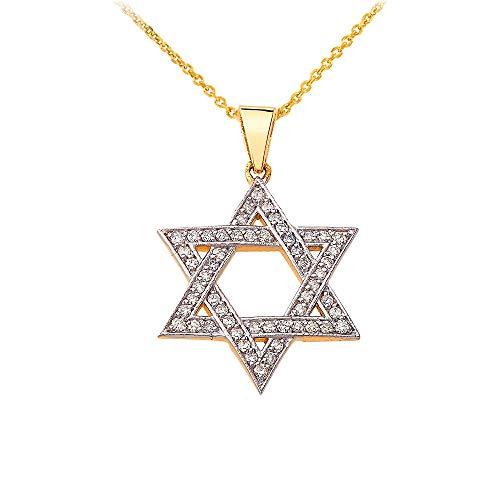 - Dazzling 14k Gold Judaica Charm Jewish Star of David Necklace with Diamonds, 16