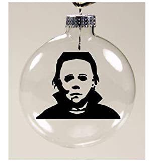 michael myers christmas ornament glass disc holiday horror merch massacre