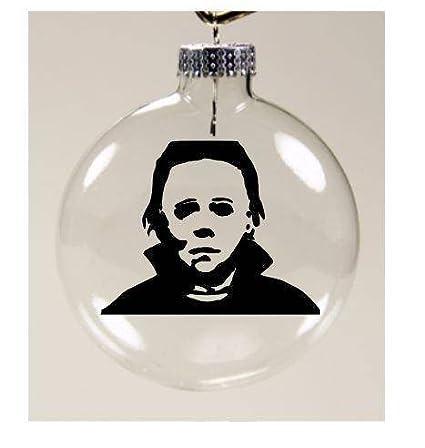 Horror Christmas Ornaments.Michael Myers Christmas Ornament Glass Disc Holiday Horror Merch Massacre