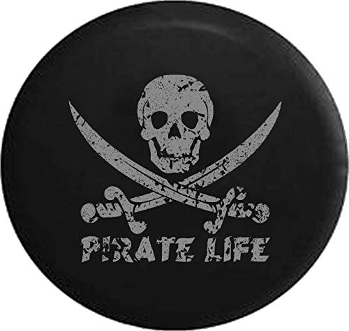 Jeep Tire Cover for Spare Tire Distress Pirate Life Skull & Swords Saltwater Edition Black 28 Inch