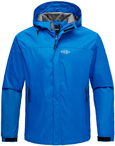 38e7164cf Wantdo Men's Hoodie Front Zip Raincoat Outdoor Windproof Windbreaker  Breathable Jacket for Camping Blue L by