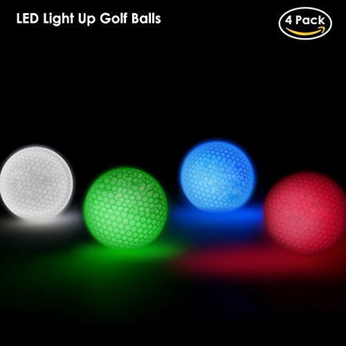 OUMAX (4 Pack) Light Up LED Golf Balls, Stay on 8 Minutes, Official Size and Weight, Red, Blue, White, Green with Mesh Net by OUMAX