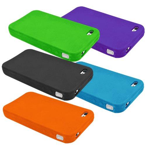 Samrick 0000431571 Hydro Silikon Schutzhülle für Apple iPhone 4/4s (10-er Pack) dunkelblau/himmelblau/grün/orange/weiß/rosa/lila/rot/gelb/schwarz