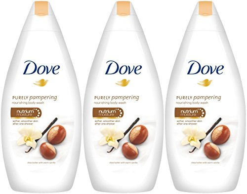 Dove Purely Pampering Body Wash, Shea Butter with Warm Vanilla, 16.9 Ounce / 500 Ml (Pack of 3) (Dove Image)