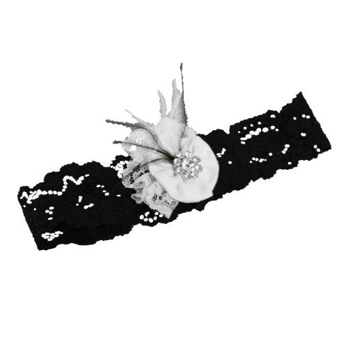 Ivy Lane Design Vintage Black Lace Pearl Wedding Garter, Small, White