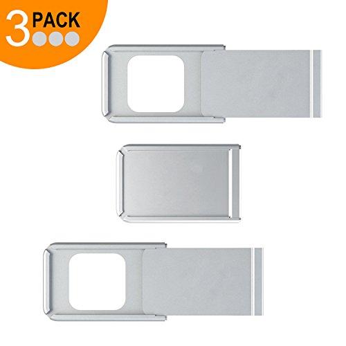 Webcam Cover Slider by Smart La Vision, 3 Pack Ultra Thin Aluminium Web Camera Privacy C Slide for MacBook Pro, iMac, Laptops, Surface Pro,iPhone and Android Smartphones, Cell Phone (3 PACK Silver)