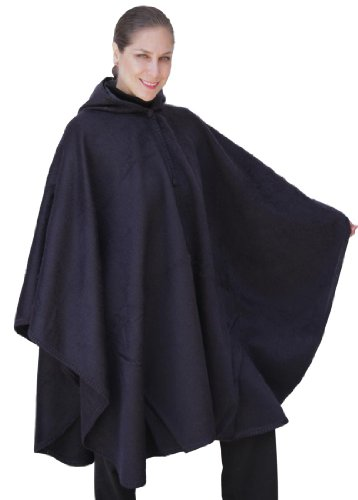 Alpaca Hooded Wool Cloak Cape, Navy Blue