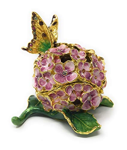 - Kubla Crafts Enameled Butterfly on Hydrangea Blossom Trinket Box, Accented with Austrian Crystals, 2.5 Inches Tall
