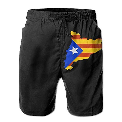 Catalonia Map with Flag Men's Printing Boardshorts Drawstring Swim Trunks with -