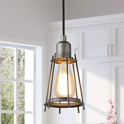 LALUZ Pendant Lighting for Kitchen Island, Farmhouse Mini Wire Cage Hanging Light Rustic Silver Brushed Hanging Lamp for Dining Room, A03474