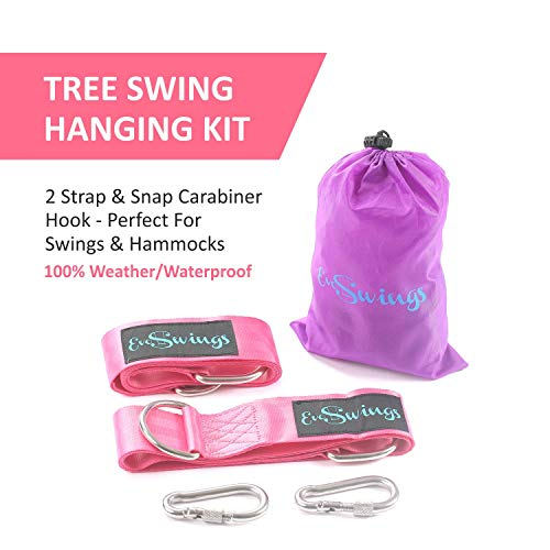Tree Swing Hanging Kit - Holds 2200lbs - Easy & Fast Swing Hanger Tree Installation - 2 Strap & Snap Carabiner Hook - Perfect for Swings & Hammocks - 100% Weather/Waterproof
