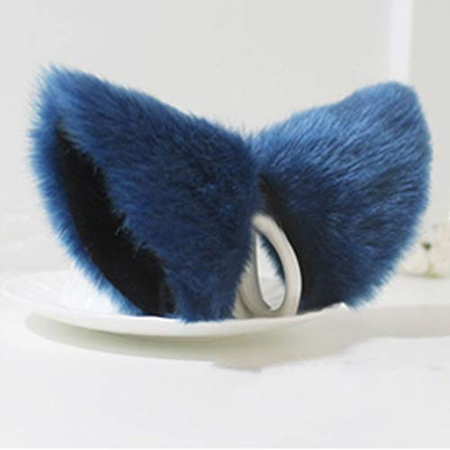 MEXUD Orecchiette Party's Cat Fox Long Fur Ears Anime Neko Costume Hair Clip Cosplay (Deep Blue&Black) -