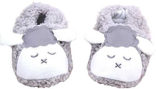 Baby Infant Animal Sheep Booties Warm Slipper Warm Plush Boot Toddler Crib Shoes (6-9 Months, Gray)