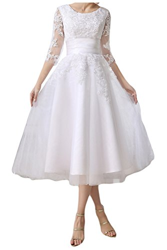 QY Bride Lace Applique Tea Length Beach Wedding Dresses Bridesmaid Gowns With Sleeves White 12