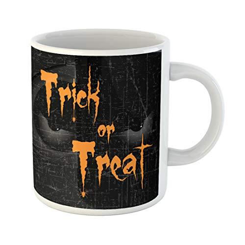 Semtomn Funny Coffee Mug Scary Halloween Eyes Creative Text of Trick Treat 11 Oz Ceramic Coffee Mugs Tea Cup Best Gift Or -