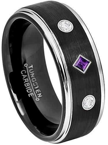 3-Stone Princess Cut Amethyst & Round Diamonds Tungsten Ring - 8MM Comfort Fit 2-Tone Black Tungsten Carbide Wedding Band - February Birthstone Ring - 14Kt White Gold Bezel - s7 ()