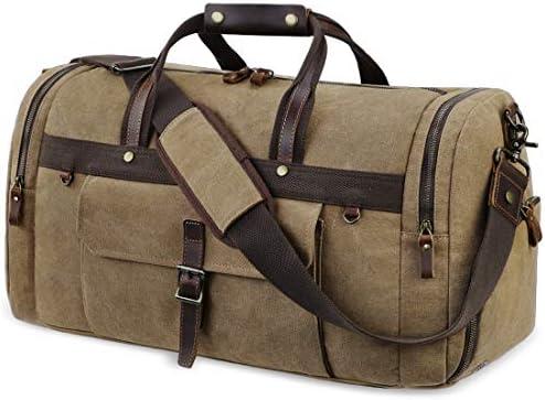 Travel Duffel Bag Waterproof Duffle Bags for Men Oversized Genuine Leather Carryon Weekend bag Canvas Overnight Bag Brown