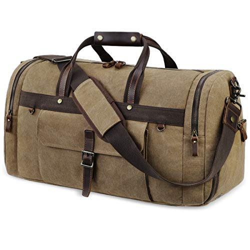 Travel Duffel Bag Waterproof Duffle Bags for Men Oversized Genuine Leather Carryon Weekend bag Canvas Overnight Bag…