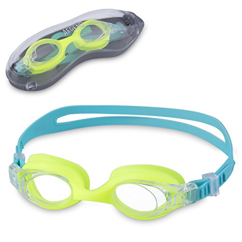 (Green) Kids Goggles Swimming, Aegend Child Swim Goggles (Age 3-6 years, Clear Vision, Anti Fog UV Protection, No Leak, Soft Silicone Frame Nose Bridge and Easy Adjustable Strap, Free Protection - Email Goggles