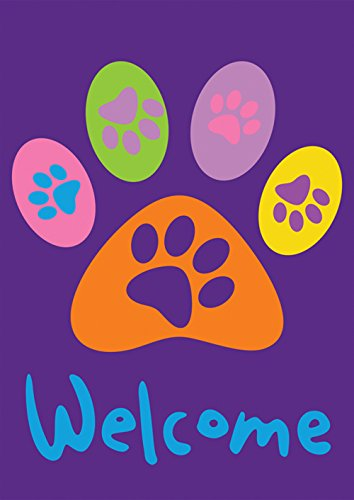 Toland Home Garden Welcome Paws Purple 12.5 x 18 Inch Decora