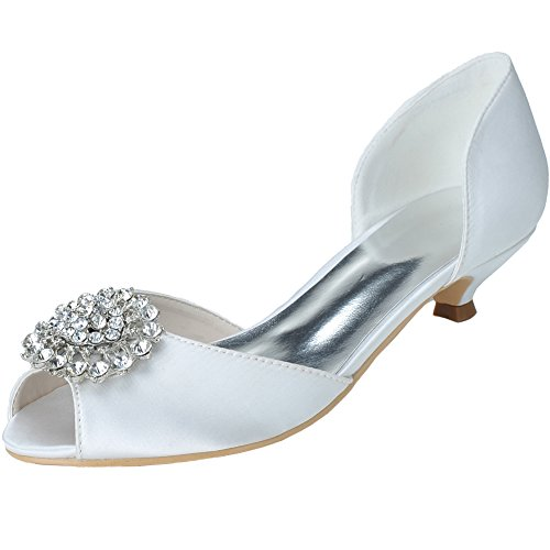 Loslandifen Women's Open Toe Rhinestones Flower Satin Low Heels Wedding Bridal Shoes£¨0700-03chouduan40£¬White