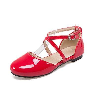 Sandalias Primavera Verano Otoño Zapatos Club PU Oficina & Carrera parte & Vestido de Noche hebilla talón plano Ruby