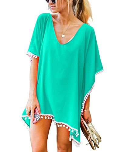 Adreamly Women's Pom Pom Trim Kaftan Chiffon Swimwear Bathing Suit Beach Cover Up Free Size Light Green