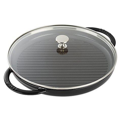 Staub 15.4'' L x 12'' W x 3.3'' H Cast Iron Steam Grill with Glass Lid in Black Matte