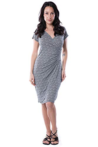 Nanakee Womens Faux Wrap Dress - Short Sleeve Slimming Tummy Control V Neck Printed Knit Dress - Black & White - XXL