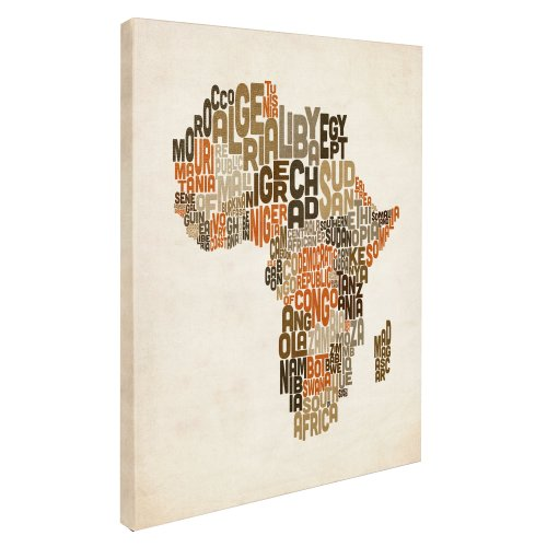 Africa Text Map by Michael Tompsett work, 16 by 24-Inch Canvas Wall Art