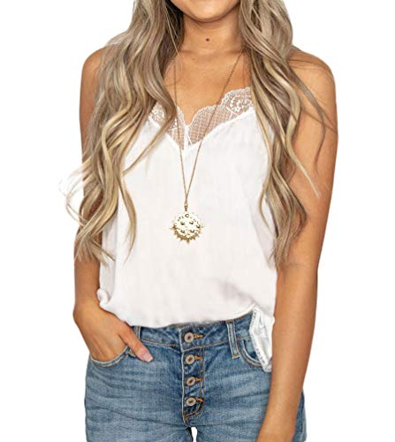 (Women's Lace Cami Tank Top Racerback with Adjustable Spaghetti Strap (Medium, Ivory) )