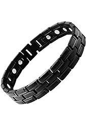 Best Mens Titanium Magnetic Golf Bracelet Carbon Black with ions Gift Box
