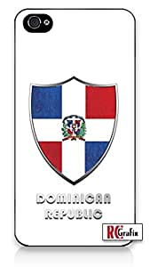 Premium Dominican Republic Flag Badge Direct UV Printed iPhone 4, 4s Quality TPU SOFT RUBBER Snap On Case for iPhone 4 - AT&T Sprint Verizon - White Case
