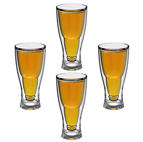 - QG 12 Ounce Clear Acrylic Plastic Double Wall Upside Down Beer Glass Set of 4