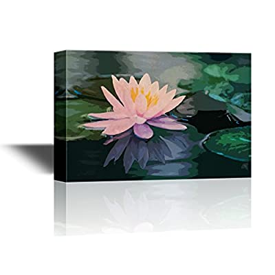 Canvas Wall Art - Floral Art with Waterlilies and Pink Lotus Flower - Gallery Wrap Modern Home Art | Ready to Hang - 24x36 inches