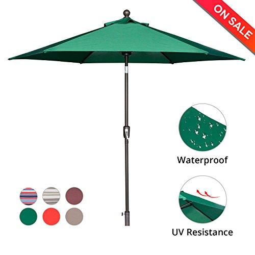 LCH 9 Ft 6 Ribs Patio Umbrella Outdoor Backyard Market Table Umbrella Sturdy Pole Push Button Easily Tilt Crank, Dark Green