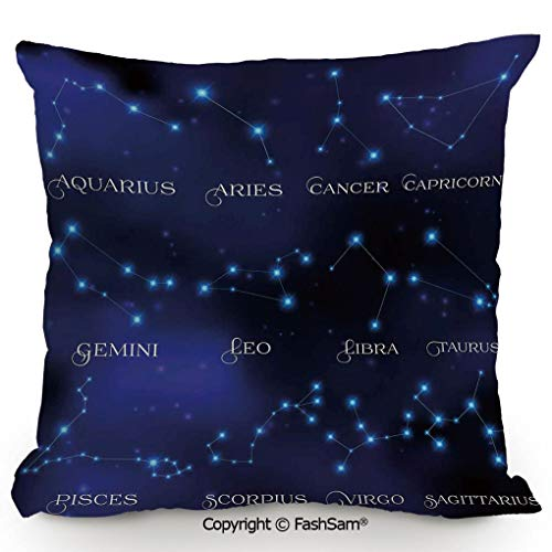 FashSam Polyester Throw Pillow Cushion Dark Night Sky Star Groups of Zodiacal Circle Styled Letters for Sofa Bedroom Car Decorate(24