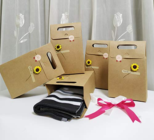 - SHHS Hard Kraft Paper Gift Bags with Flower(5 Set)-(6.3