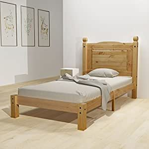 Festnight estructura de cama corona de madera maciza de for Estructura cama 90x200