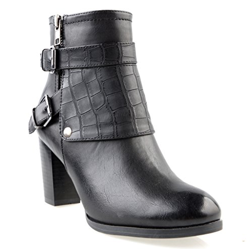 Eyekepper Women s Fashion strappy hebilla cremallera lateral hasta grueso tacon Botines hasta el tobillo negro