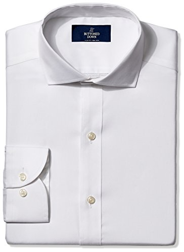 Straight Collar Dress Shirt - BUTTONED DOWN Men's Slim Fit Cutaway-Collar Non-Iron Dress Shirt (No Pocket), White, 16