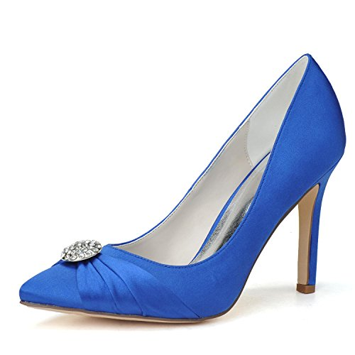 Stoff F0608 Satin Hochzeit Spitze Damen L 08 Blue Abend mit High engen Zeh Fine Heels YC xwnqIPvqY