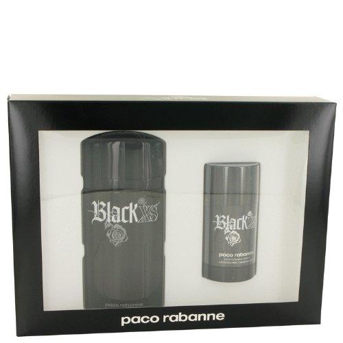Black Xs by Paco Rabanne Gift Set - 3.3 oz Eau De Toilette Spray Plus 2.6 oz Deodorant Stick for Men