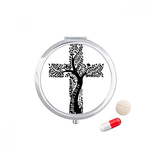 Religion Christianity Church Cross Tree Leaves Travel Pocket Pill case Medicine Drug Storage Box Dispenser Mirror Gift by DIYthinker