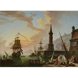 'Claude-Joseph Vernet - A Seaport,later 18th Century' Oil Painting, 24x33 Inch / 61x84 Cm ,printed On High Quality Polyster Canvas ,this Reproductions Art Decorative Canvas Prints Is Perfectly Suitalbe For Nursery Artwork And Home Artwork And Gifts