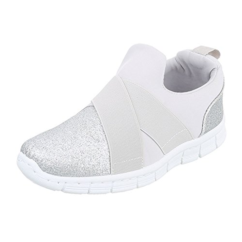 Ital-Design Low-Top Sneaker Damenschuhe Low-Top Sneakers Freizeitschuhe Silber FC-S51