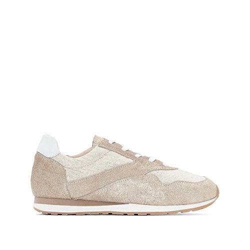 Anne Weyburn Frau Flache Sneakers, Leder Gre 40 Beige