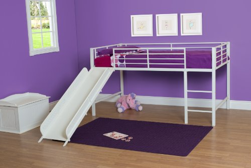 Image of the DHP Junior Twin Metal Loft Bed with Slide, Multifunctional Design, White with White Slide